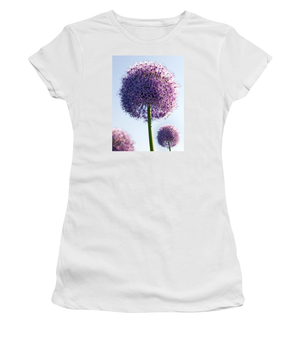 Allium Women's T-Shirt (Athletic Fit) featuring the photograph Allium Flower by Tony Cordoza