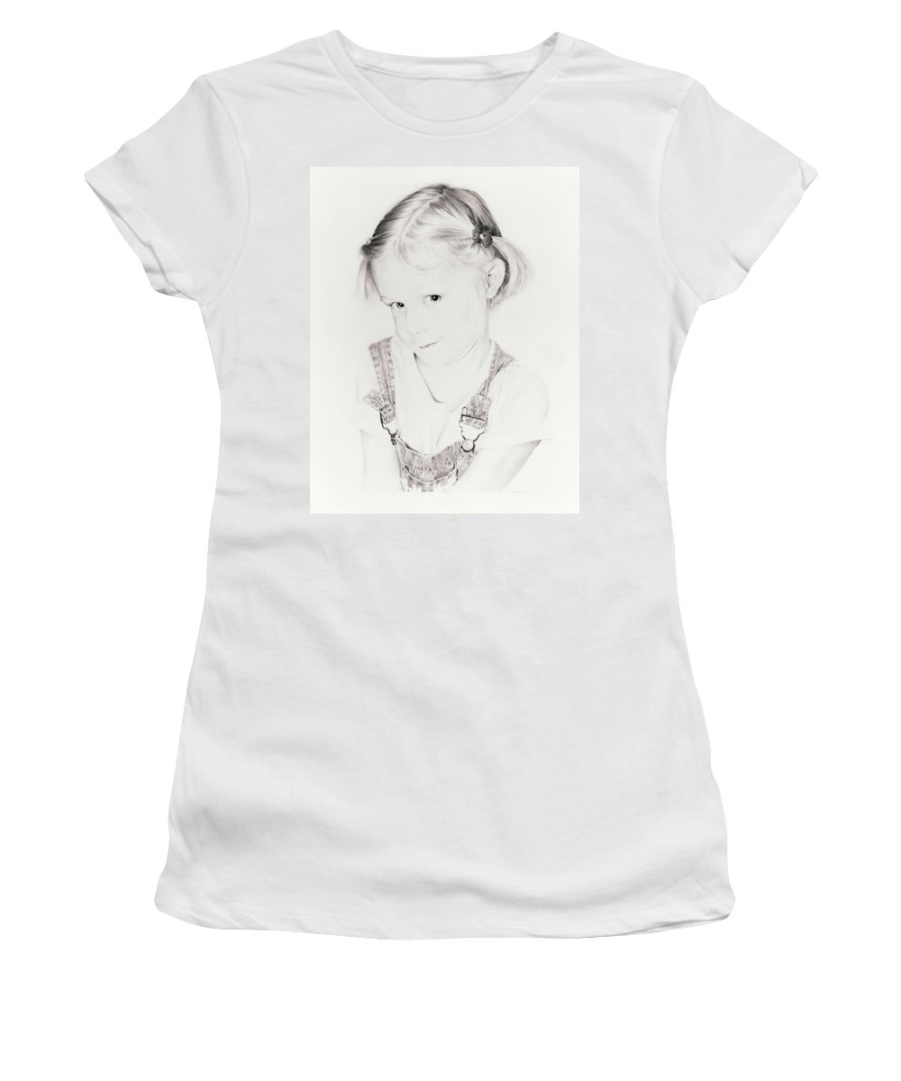Portrait Women's T-Shirt (Athletic Fit) featuring the drawing Almost Perfect by Rachel Christine Nowicki