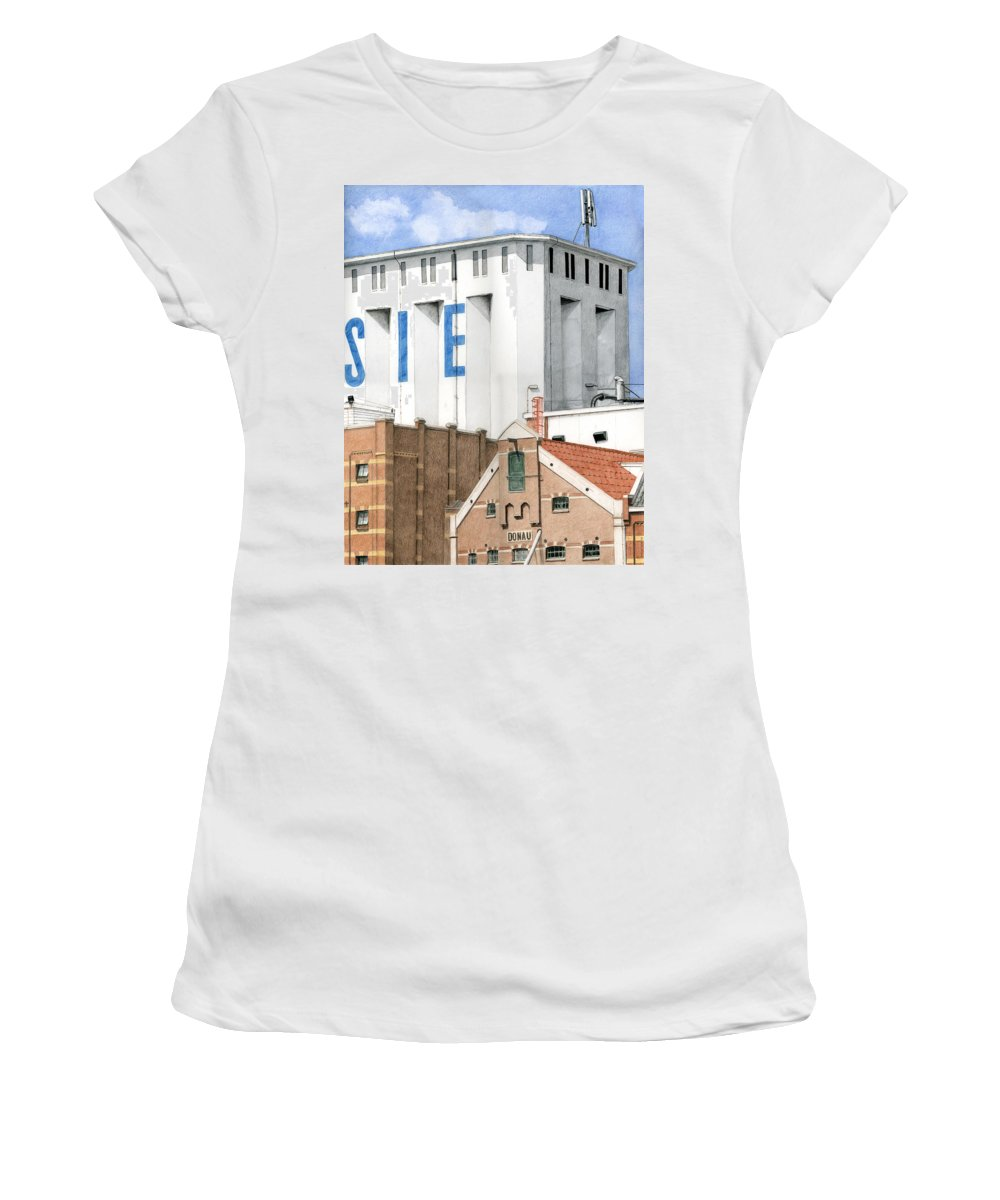Mixed Media Women's T-Shirt (Athletic Fit) featuring the mixed media Along The River Zaan Lassie Silo by Rob De Vries