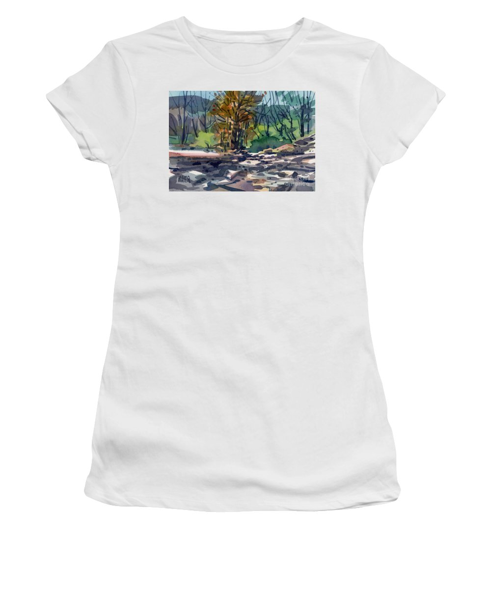 Russian River Women's T-Shirt (Athletic Fit) featuring the painting Along The Russian River by Donald Maier