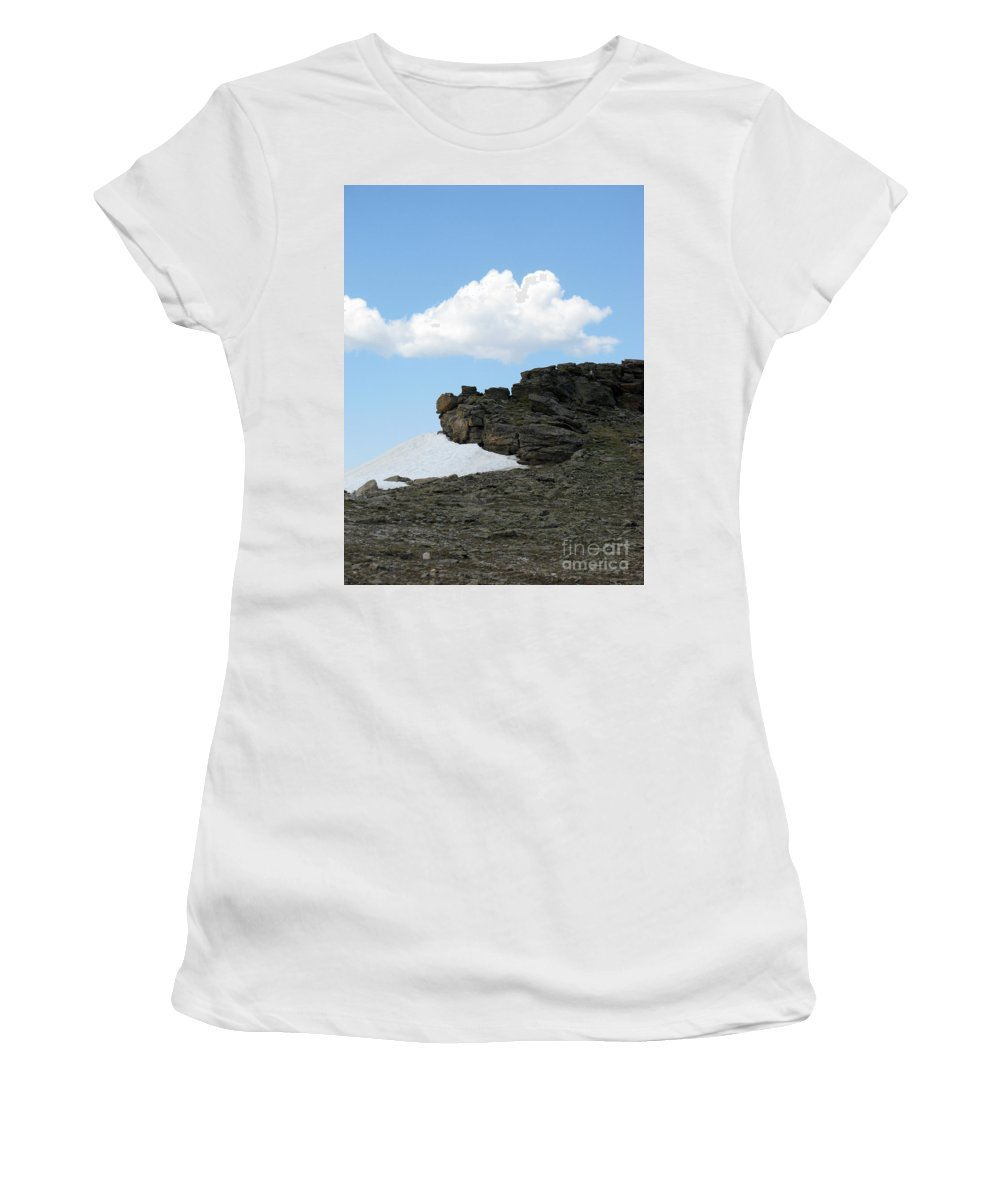 Rocky Mountains Women's T-Shirt (Athletic Fit) featuring the photograph Alpine Tundra - Up In The Clouds by Amanda Barcon