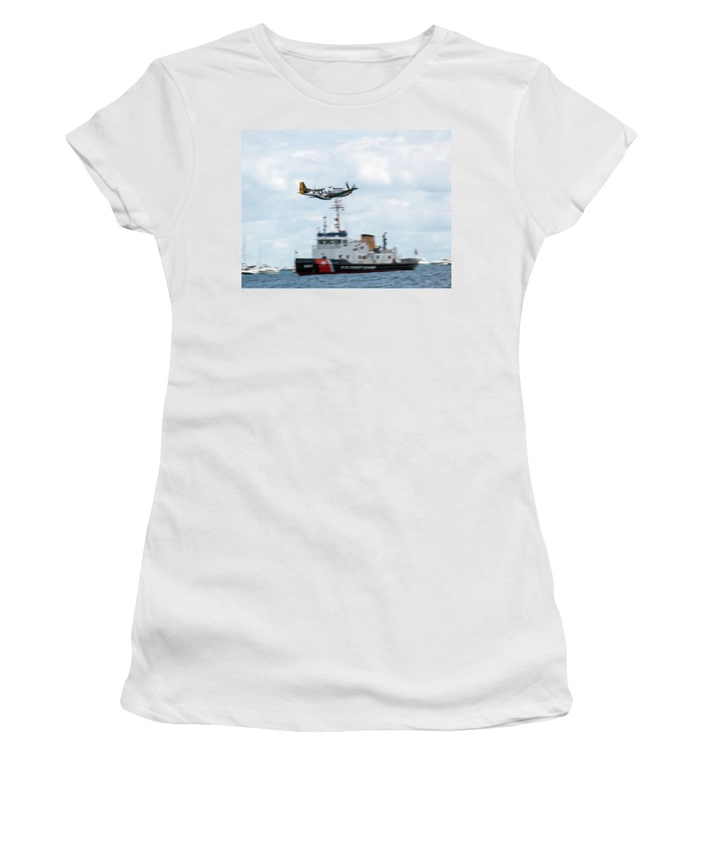 Aerobatic Women's T-Shirt (Athletic Fit) featuring the photograph Aluminum Mustang by Rick Selin