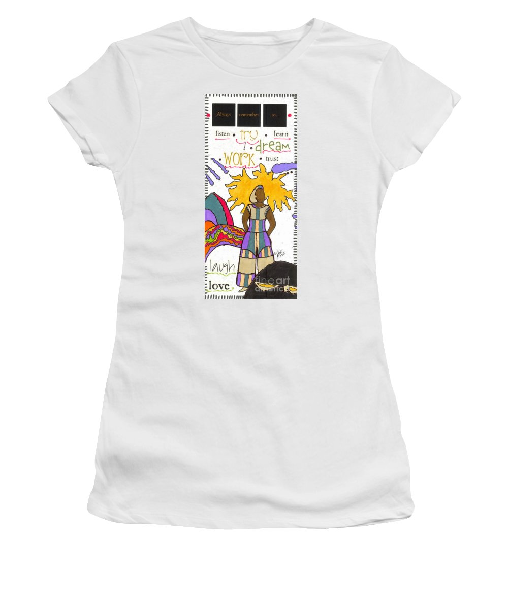 Gretting Cards Women's T-Shirt (Athletic Fit) featuring the mixed media Always Remember by Angela L Walker