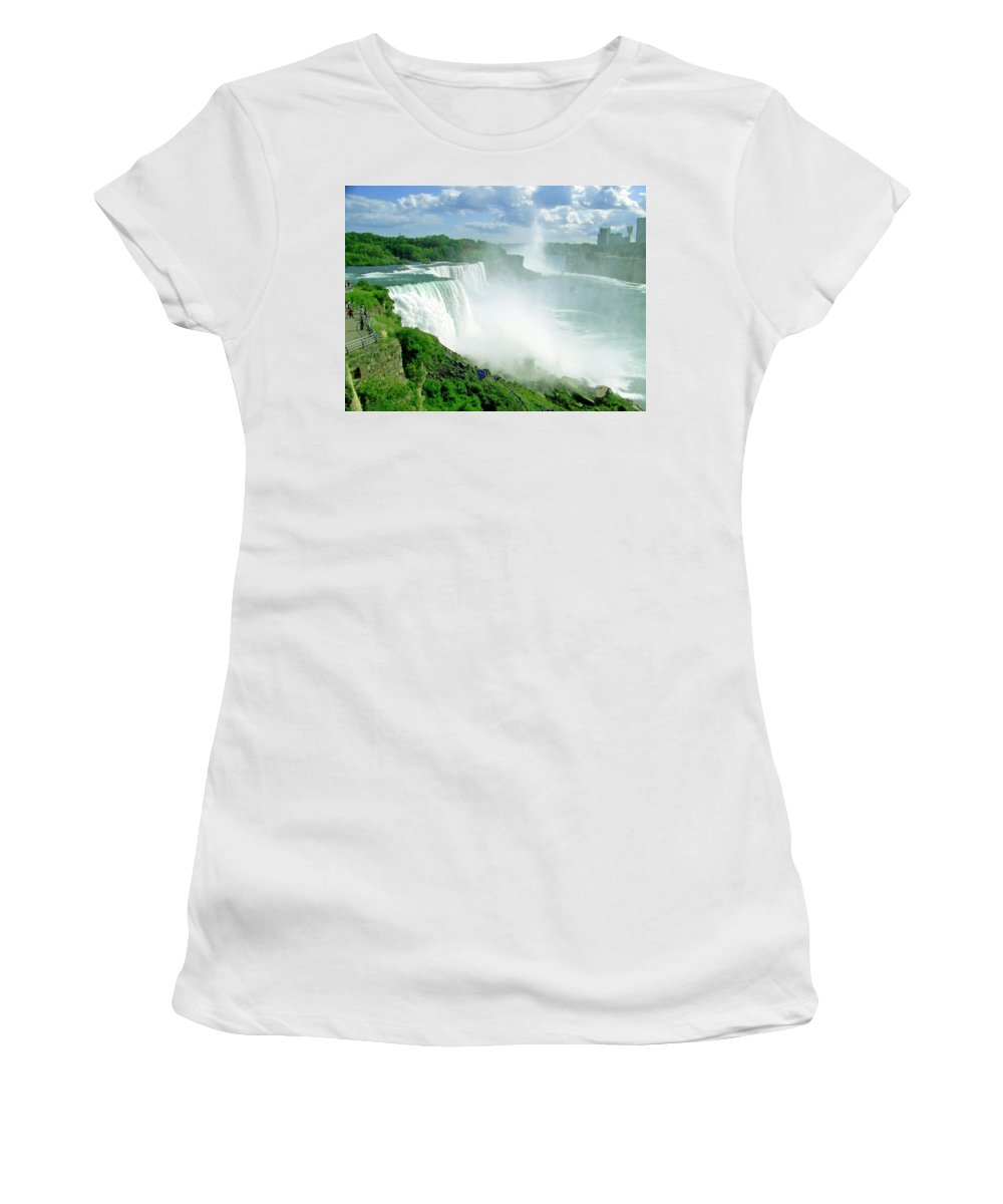 Waterfall Women's T-Shirt featuring the photograph American And Niagra Falls At Niagra by Laurie Paci
