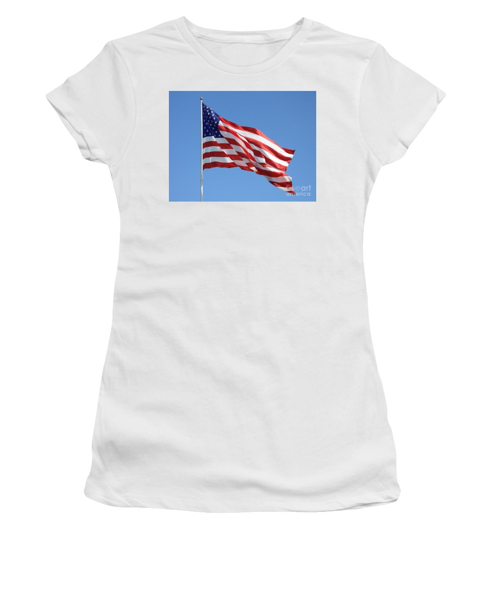 Flag Women's T-Shirt (Athletic Fit) featuring the photograph American Flag by Carol Groenen