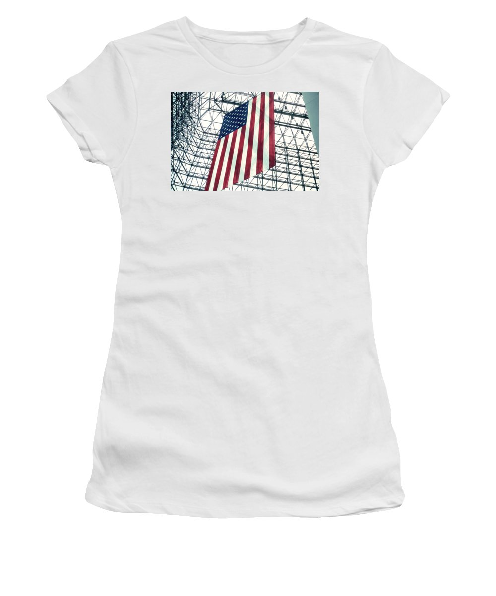 Flag Women's T-Shirt (Athletic Fit) featuring the photograph American Flag In Kennedy Library Atrium - 1982 by Thomas Marchessault