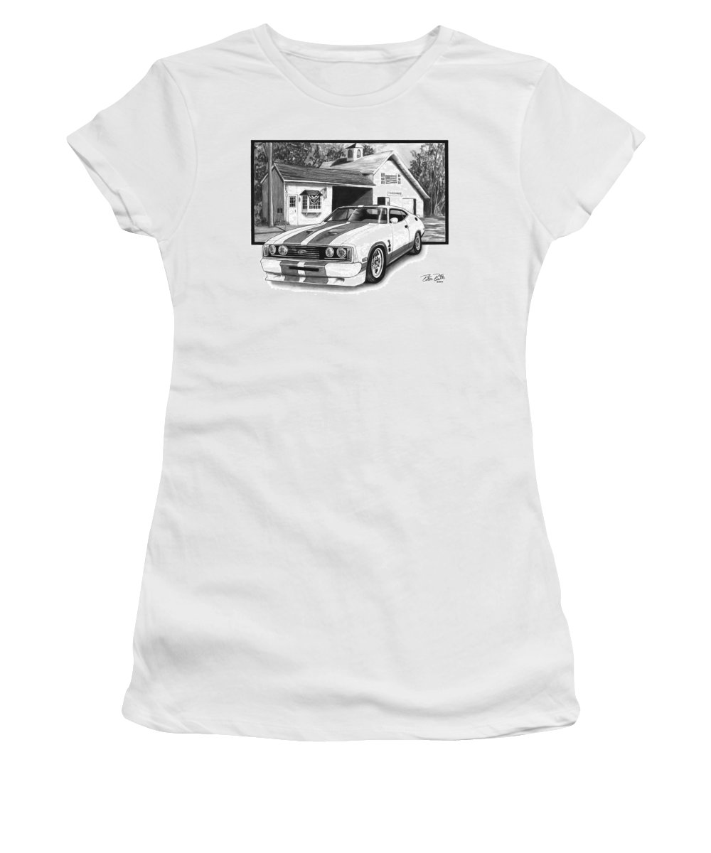 American Heartland 1978 Ford Cobra Women's T-Shirt featuring the drawing American Heartland by Peter Piatt