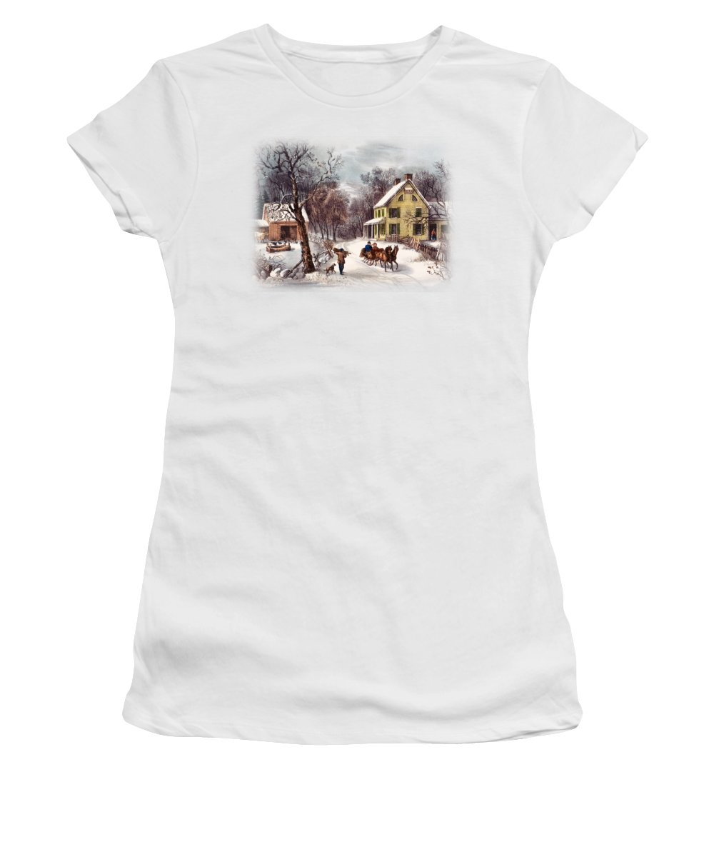 Currier And Ives Paintings Women's T-Shirts