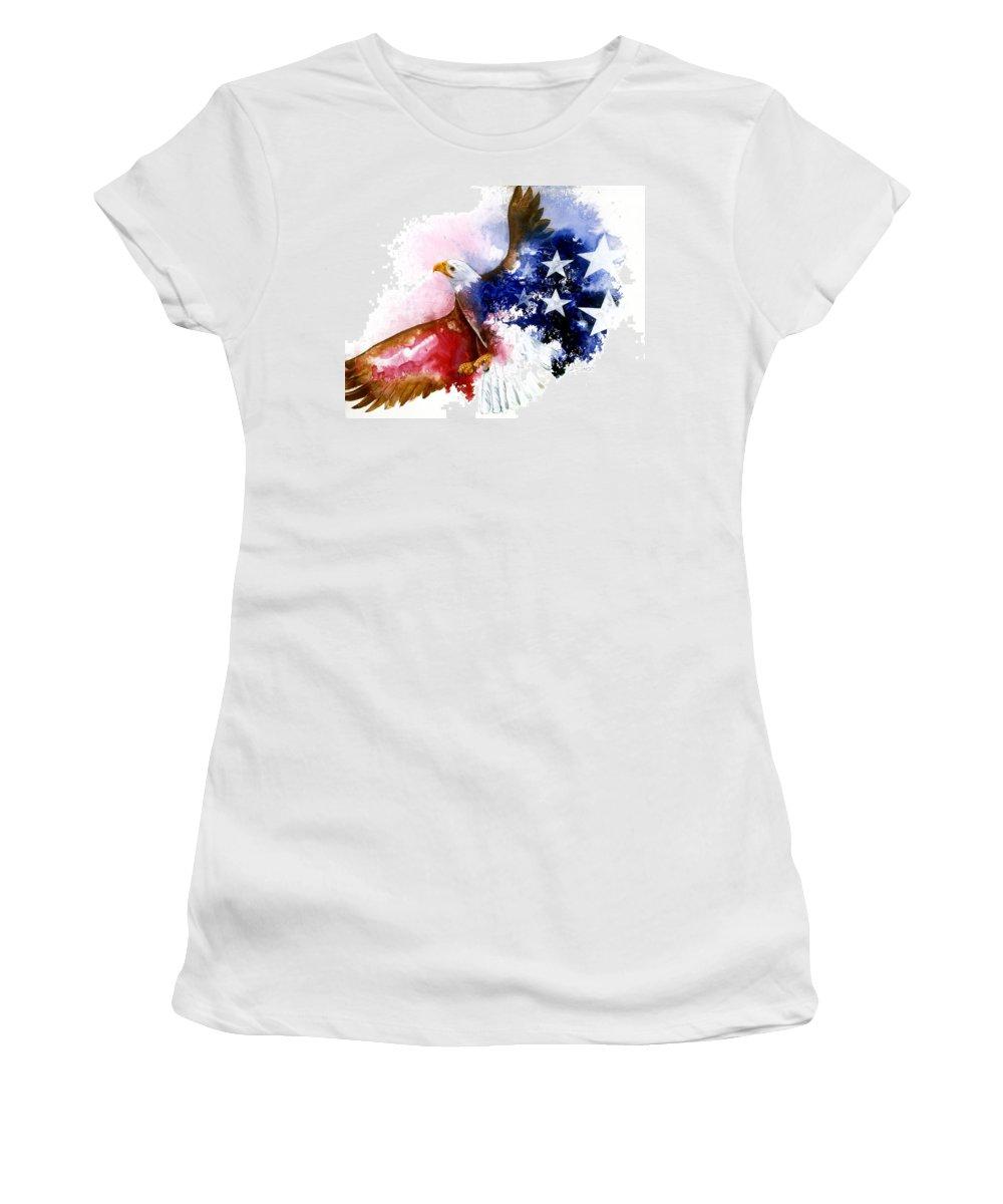 Bird Women's T-Shirt featuring the painting American Spirit by Sherry Shipley