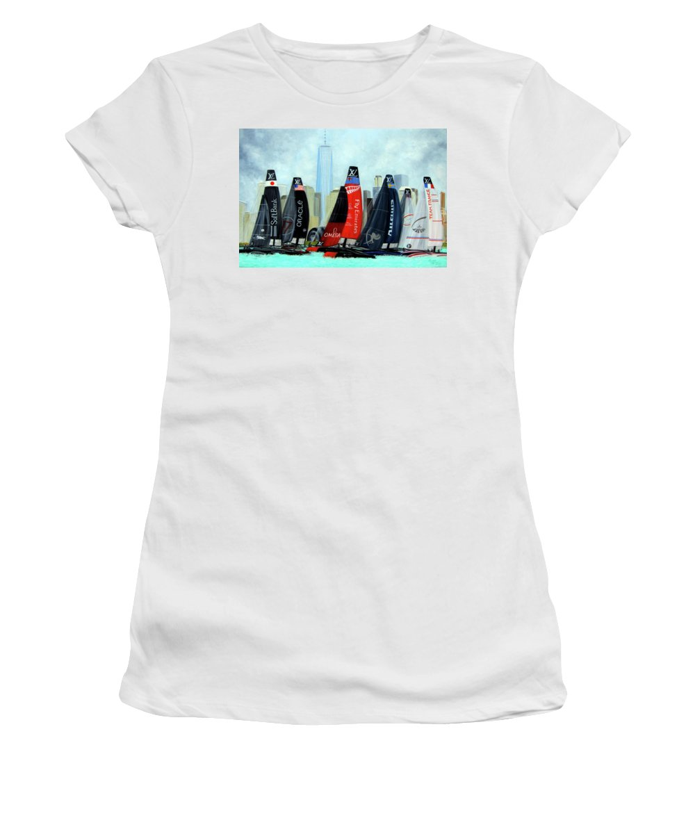 Americas Cup Sailing Race Women's T-Shirt (Athletic Fit) featuring the painting America's Cup New York City by Leonardo Ruggieri