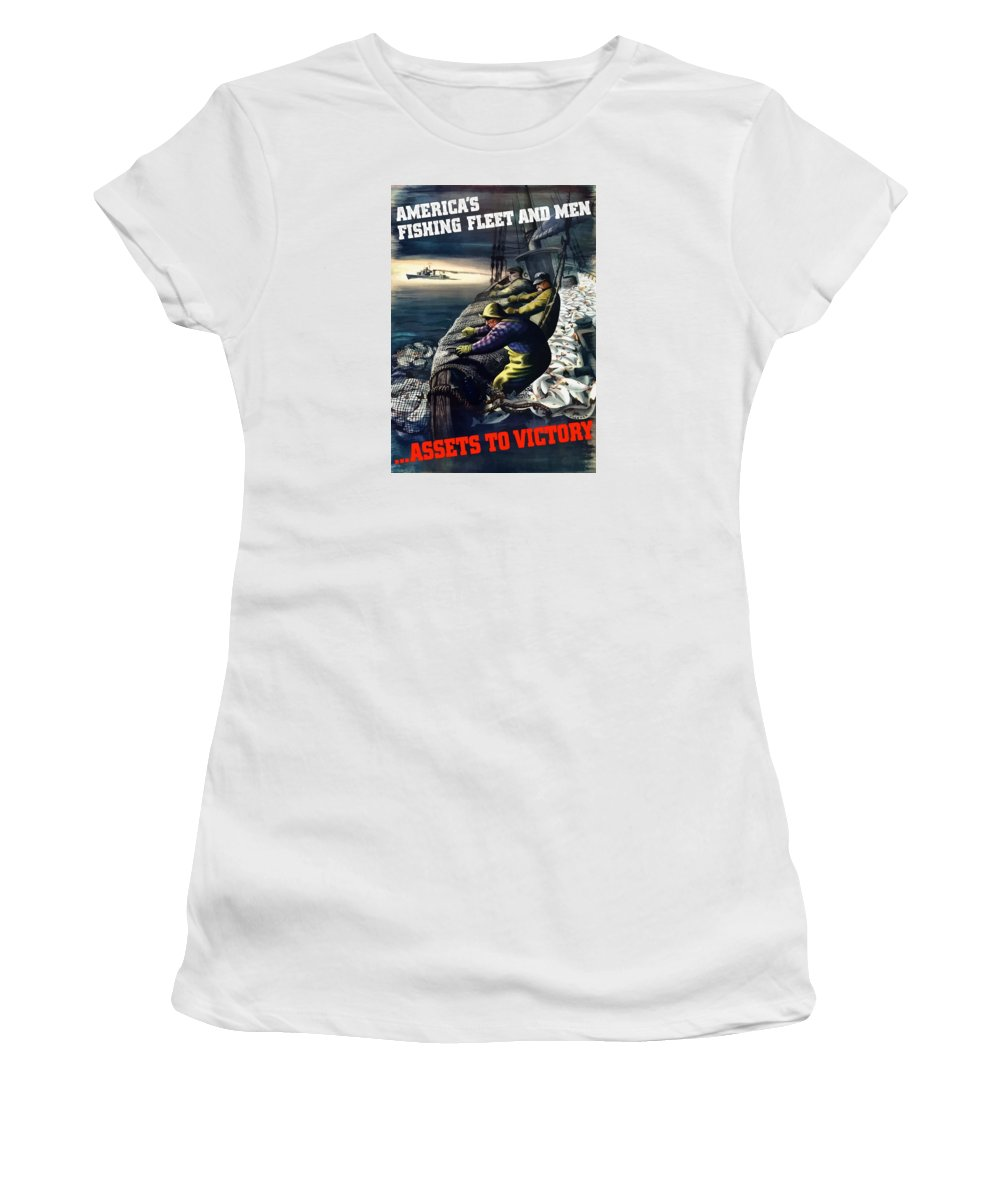 Fishing Women's T-Shirt (Athletic Fit) featuring the painting America's Fishing Fleet And Men by War Is Hell Store