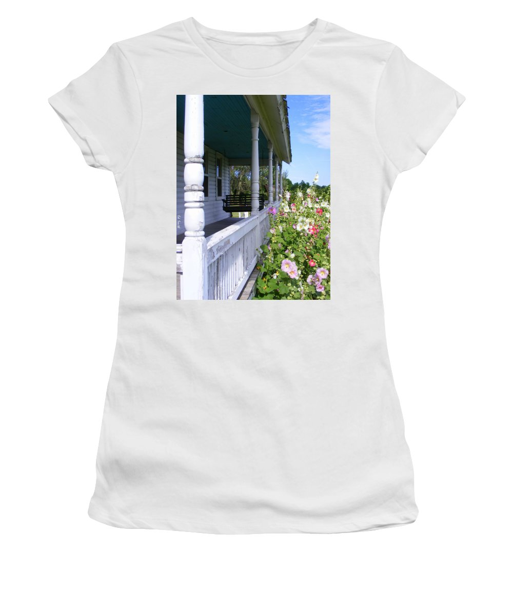 Amish Porch Women's T-Shirt (Athletic Fit) featuring the photograph Amish Porch by Ed Smith
