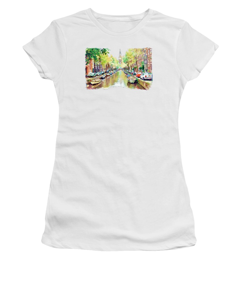 Amsterdam Canal Women's T-Shirt featuring the painting Amsterdam Canal 2 by Marian Voicu
