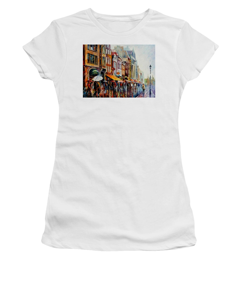 Afremov Women's T-Shirt (Athletic Fit) featuring the painting Amsterdam's Rain by Leonid Afremov