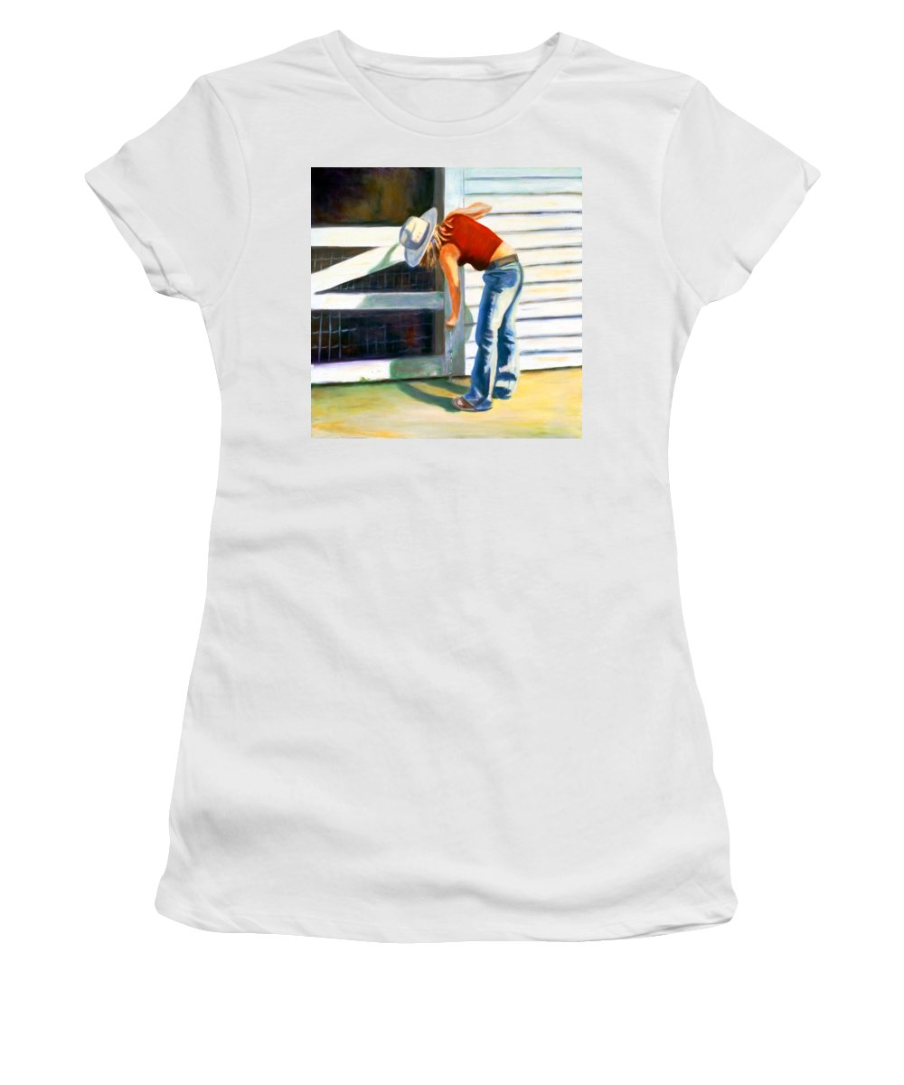 Red Women's T-Shirt (Athletic Fit) featuring the painting An American Girl by Shannon Grissom