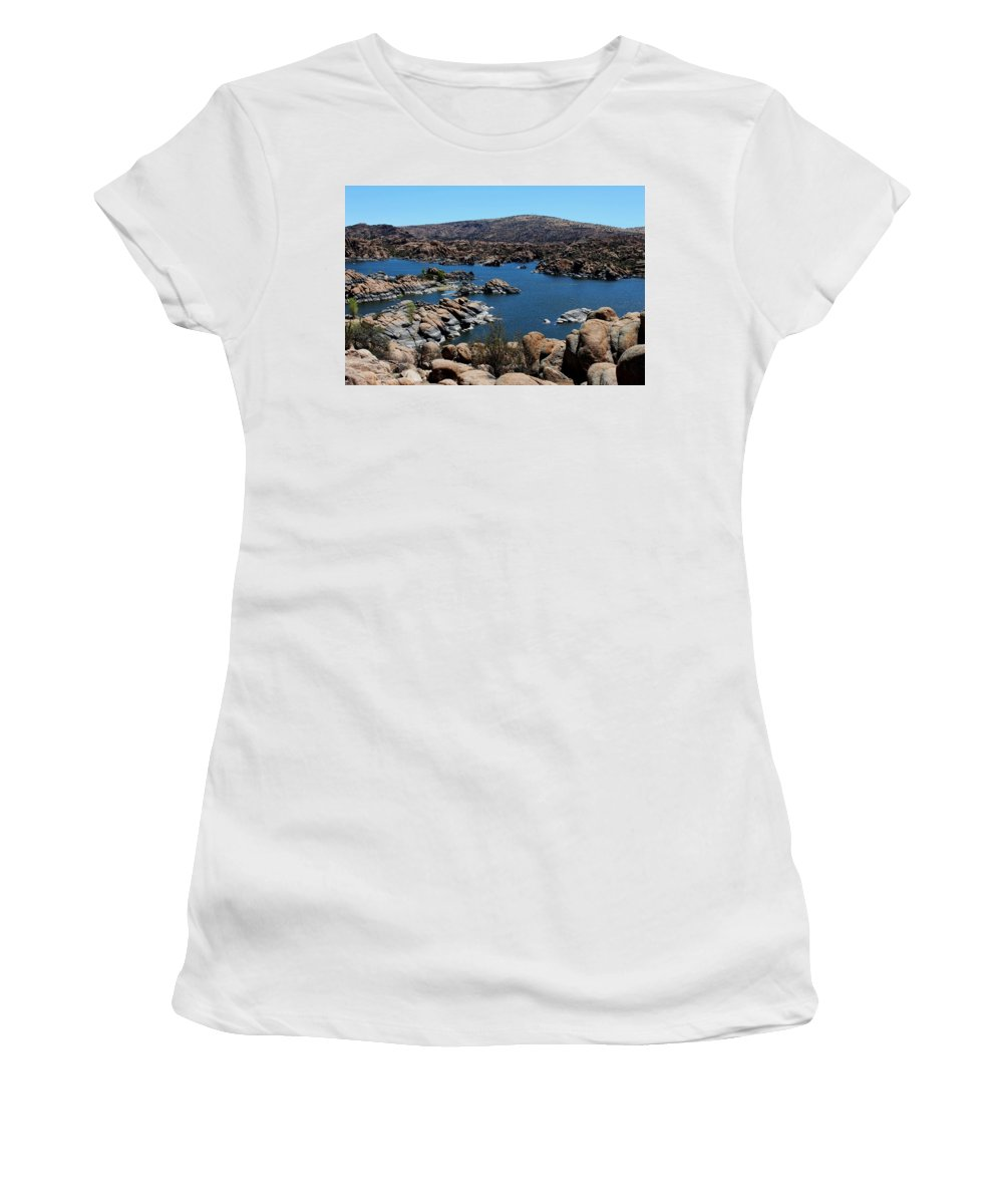 Granite Dells Women's T-Shirt featuring the photograph Ancient Rocks by Teresa Howell