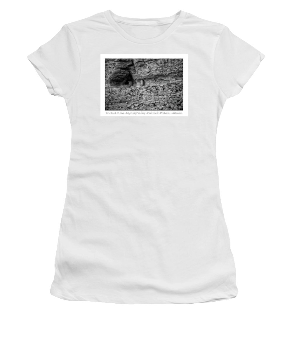 Mystery Valley Women's T-Shirt (Athletic Fit) featuring the photograph Ancient Ruins Mystery Valley Colorado Plateau Arizona 02 Bw Text by Thomas Woolworth