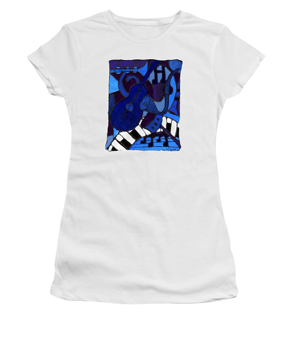 Blues Women's T-Shirt (Athletic Fit) featuring the painting and All that Jazz one by Wayne Potrafka