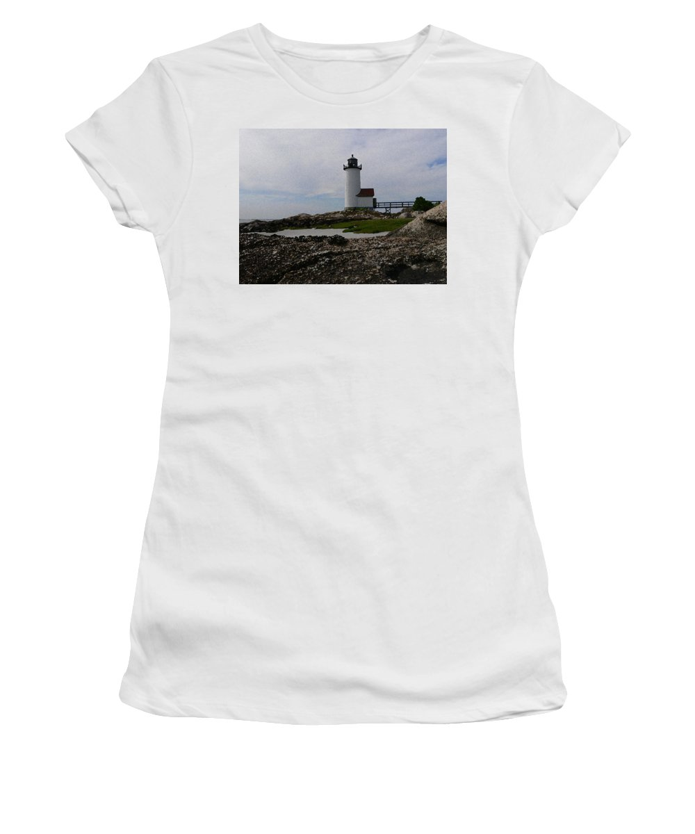 New England Lighthouse Women's T-Shirt (Athletic Fit) featuring the photograph Annisquam Lighthouse by Nancie DeMellia