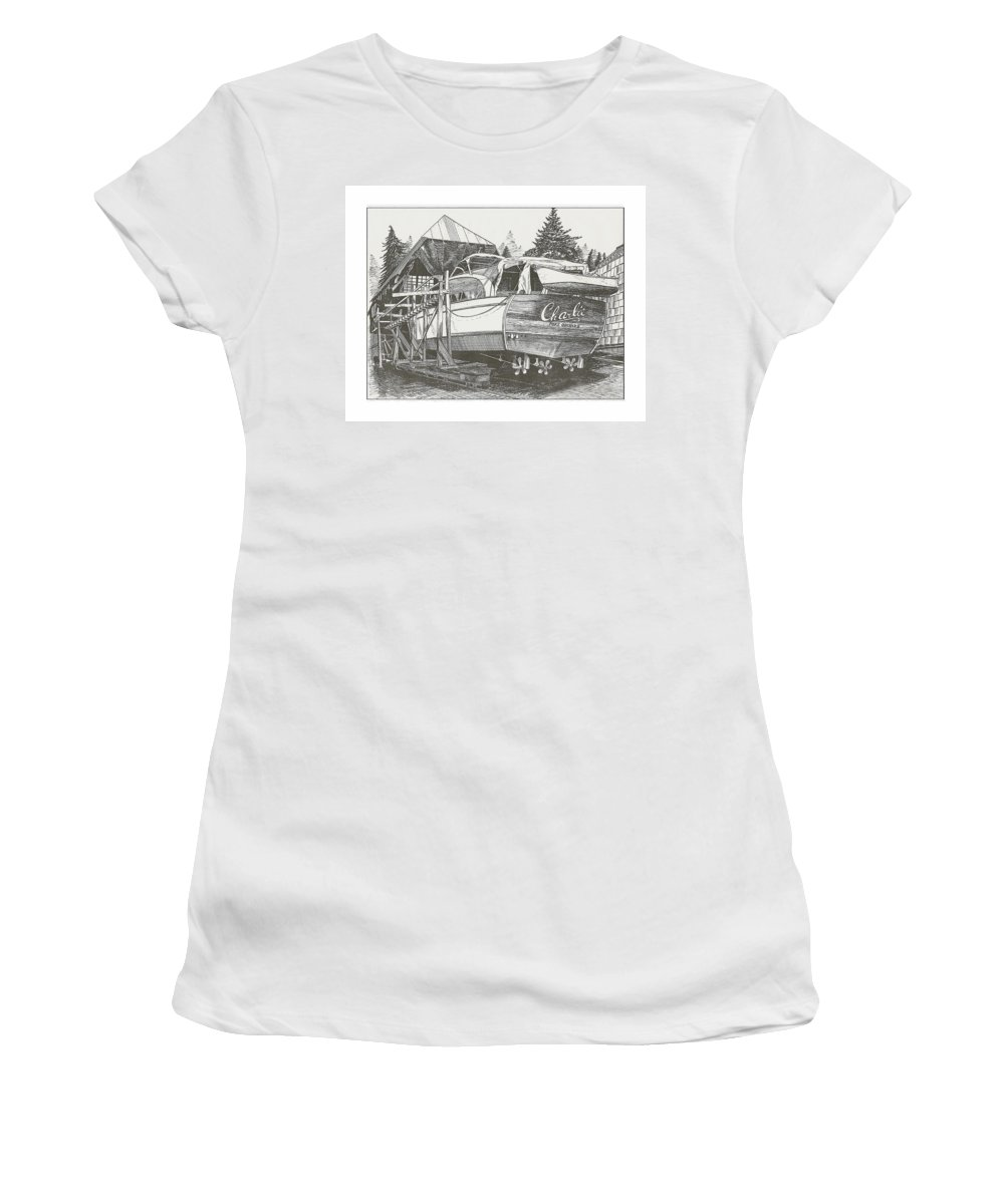 Nautical Yacht Portraits Women's T-Shirt (Athletic Fit) featuring the drawing Annual Haul Out Chris Craft Yacht by Jack Pumphrey