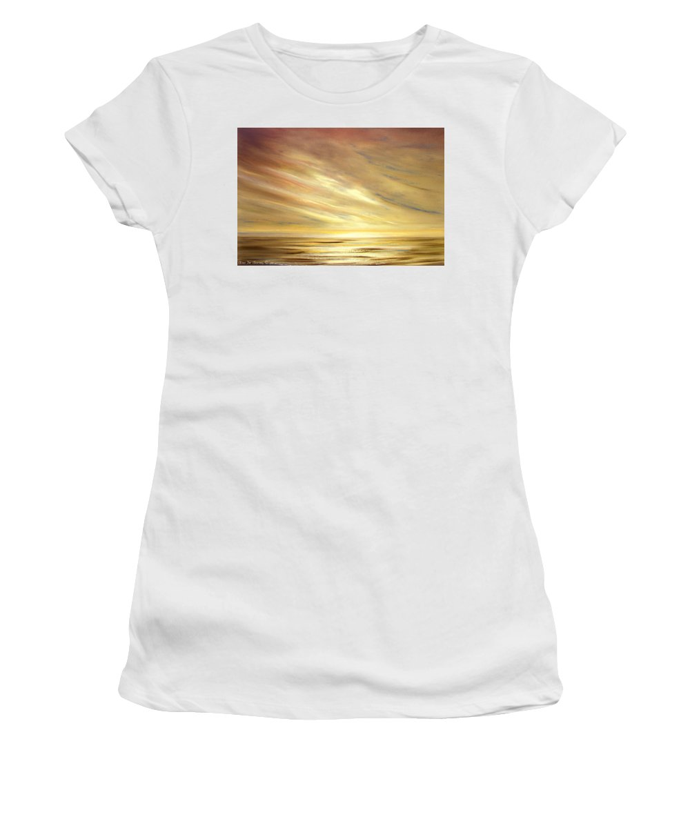 Gold Women's T-Shirt (Athletic Fit) featuring the painting Another Golden Sunset by Gina De Gorna