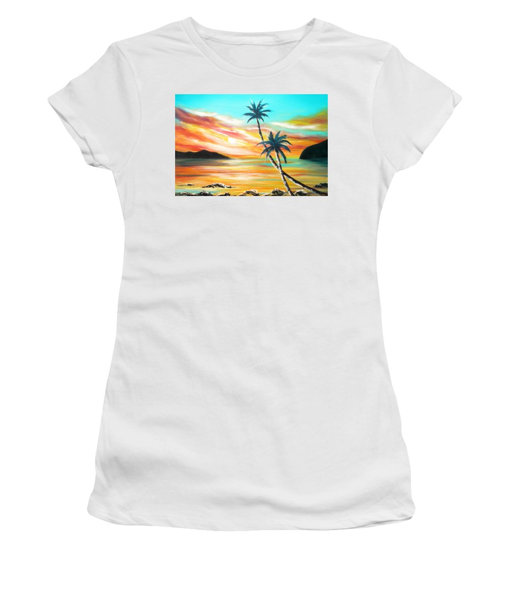 Sunset Women's T-Shirt (Athletic Fit) featuring the painting Another Sunset In Paradise by Gina De Gorna