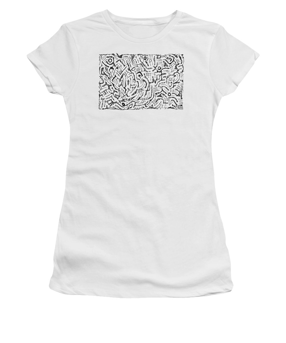 Mazes Women's T-Shirt (Athletic Fit) featuring the drawing Anticipative by Steven Natanson