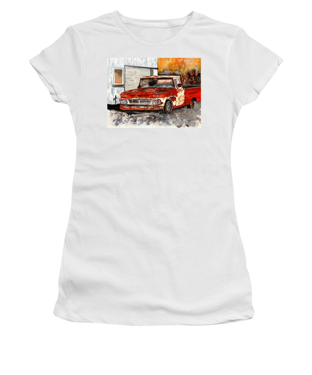 Transportation Women's T-Shirt featuring the painting Antique Old Truck Painting by Derek Mccrea