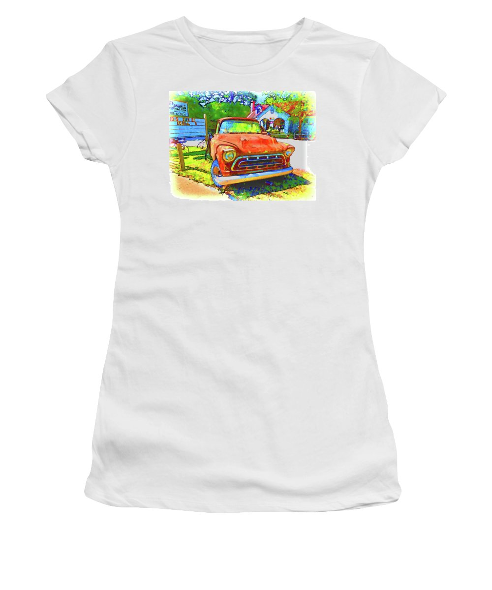 Antique Tow Truck Women's T-Shirt featuring the painting Antique Tow Truck by Jeelan Clark
