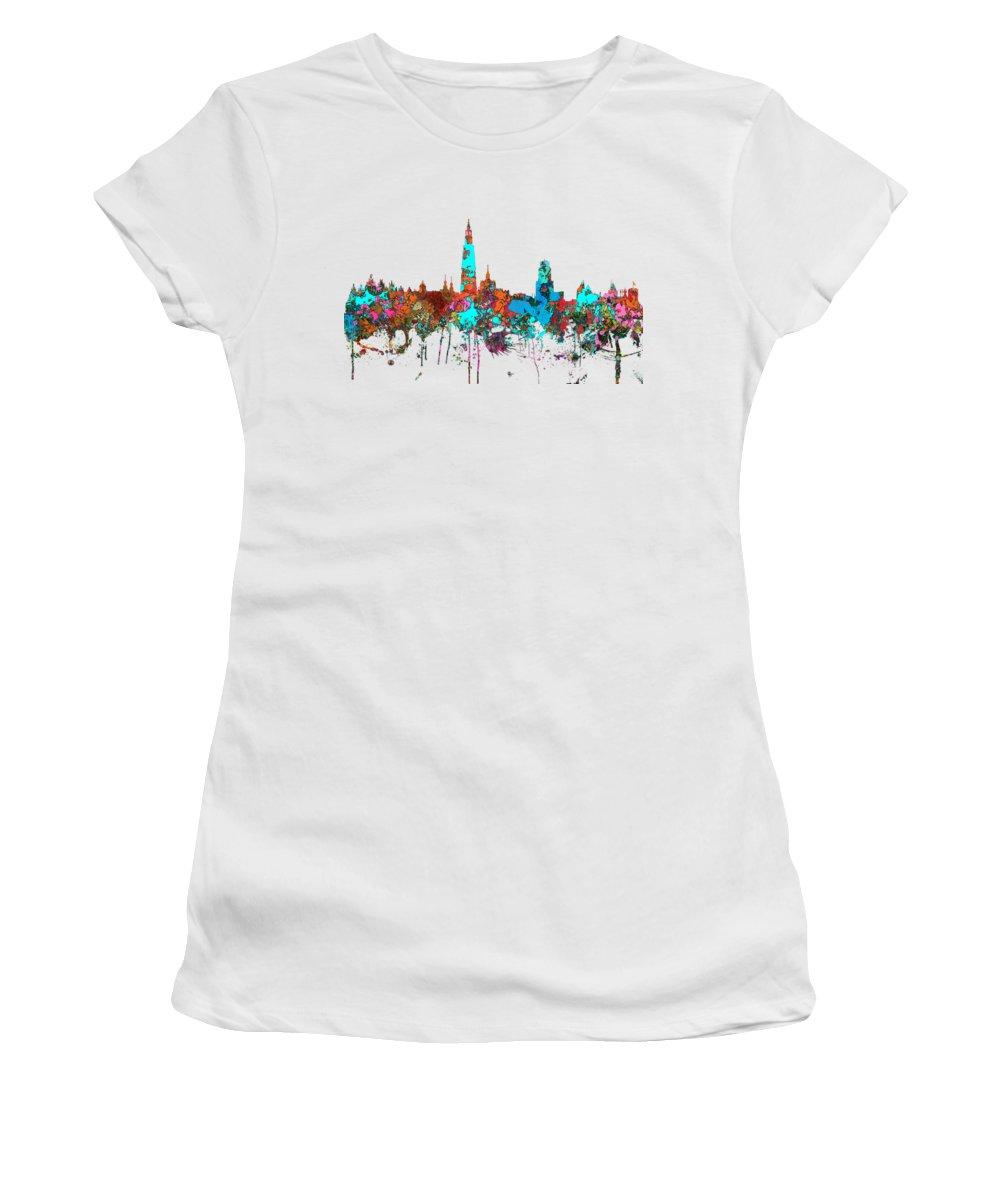 Antwerp Belgium Skyline Women's T-Shirt featuring the digital art Antwerp Belgium Skyline by Marlene Watson