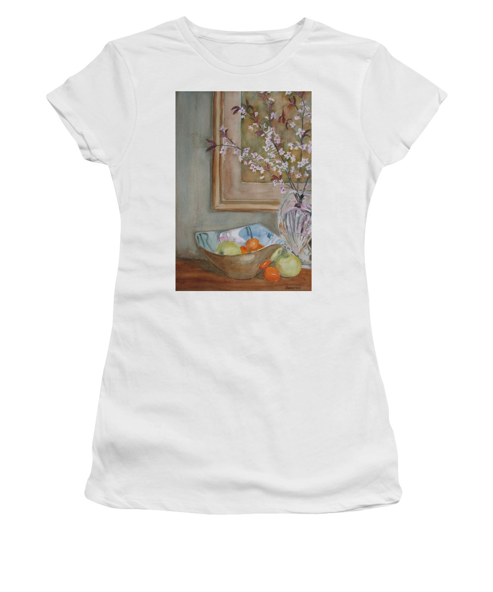 Apples Women's T-Shirt (Athletic Fit) featuring the painting Apples And Oranges by Jenny Armitage