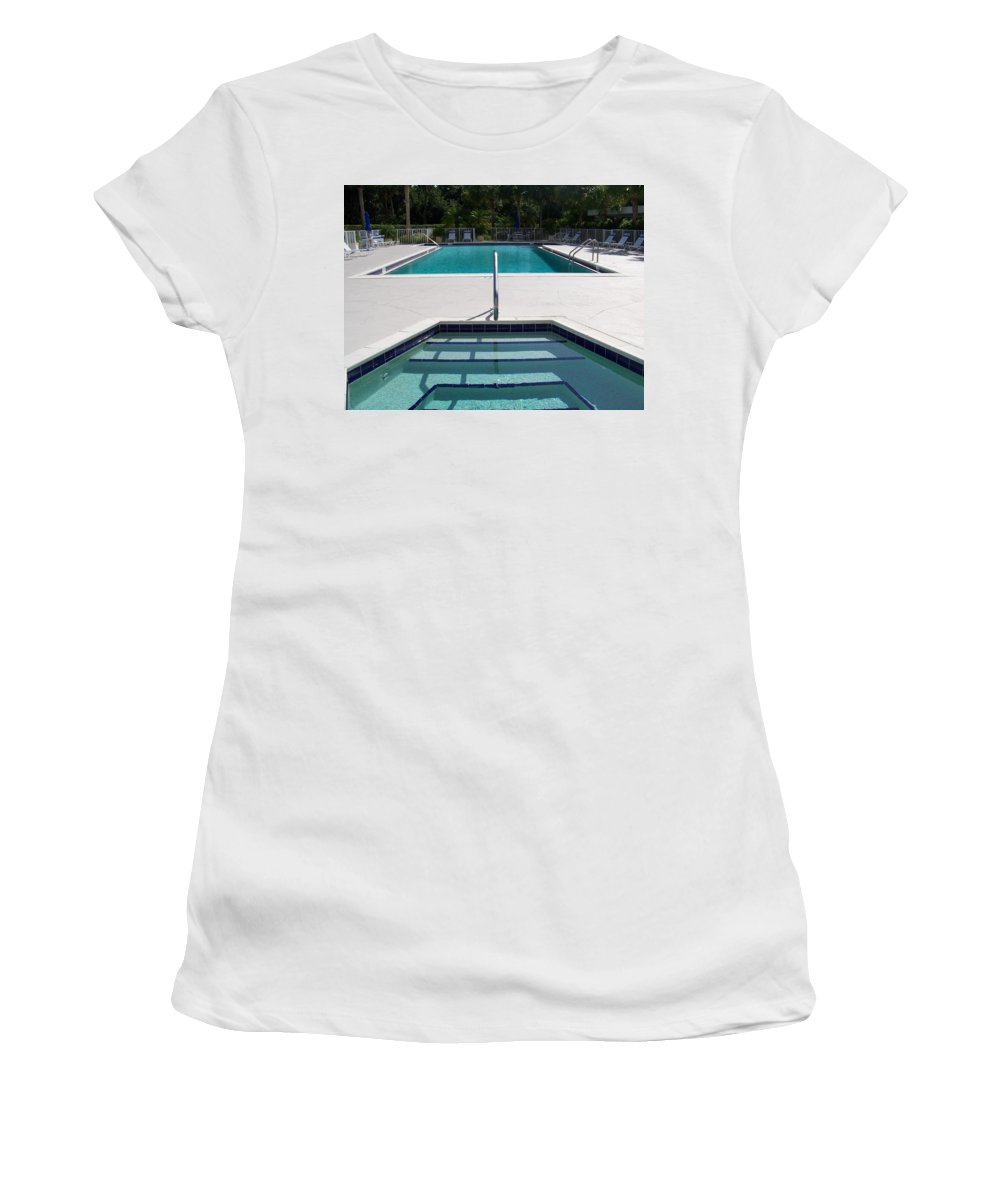 Pool Women's T-Shirt featuring the photograph Aqua by Laurie Paci