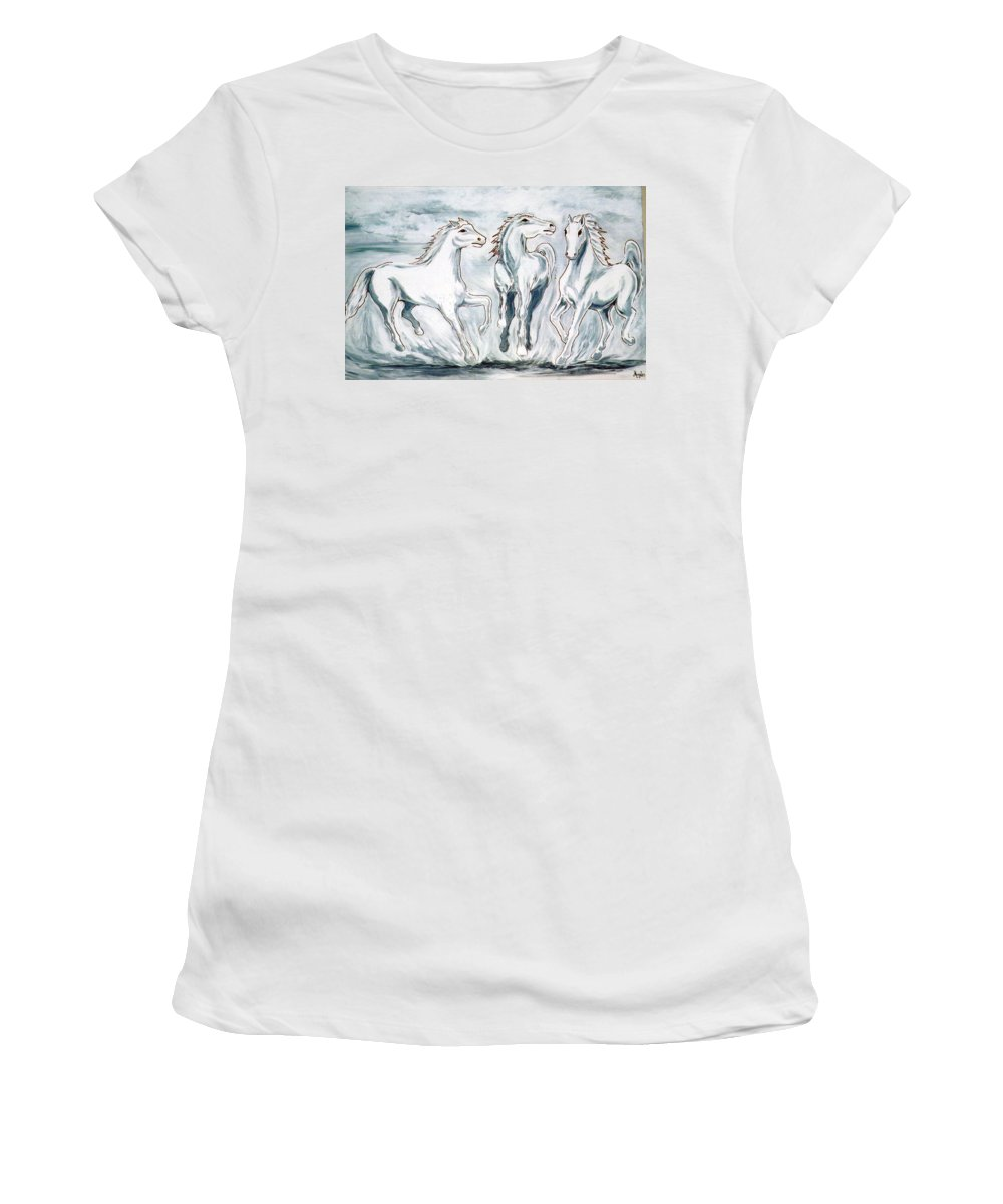 Horses Women's T-Shirt featuring the painting Arabian Roots by Marco Morales