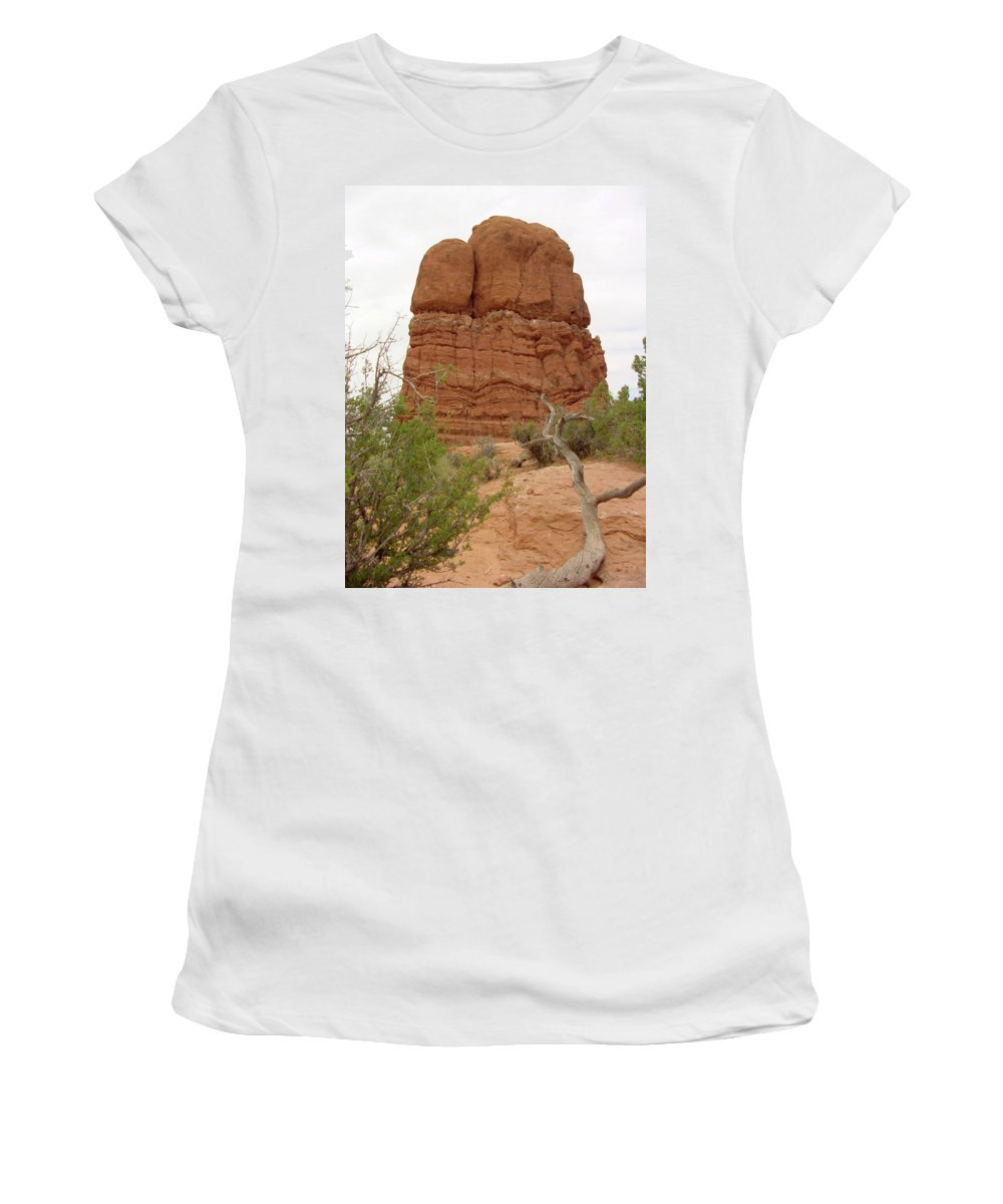 Arches National Park Women's T-Shirt (Athletic Fit) featuring the photograph Arches Formation 24 by Dawn Amber Hood