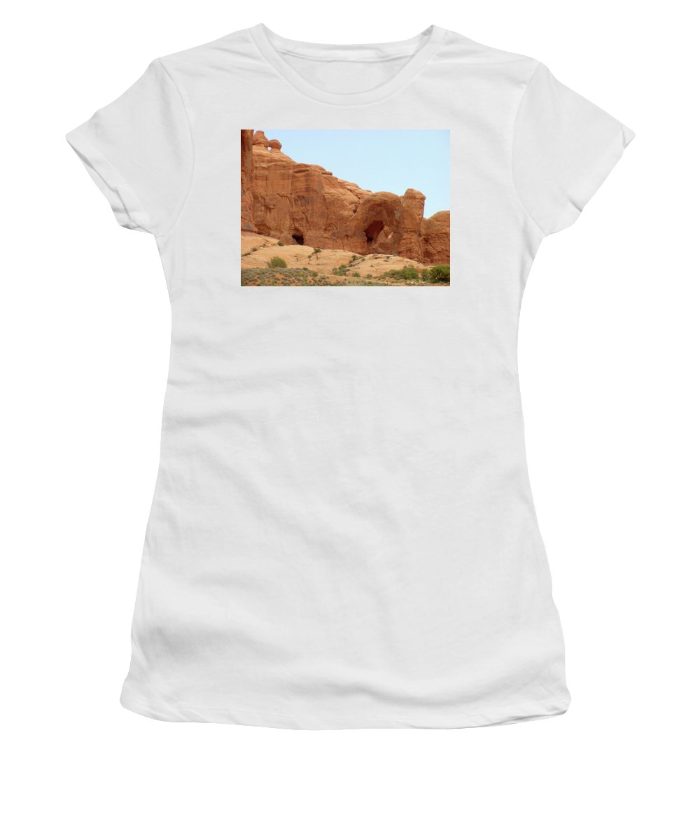 Arches National Park Women's T-Shirt (Athletic Fit) featuring the photograph Arches Formation 29 by Dawn Amber Hood
