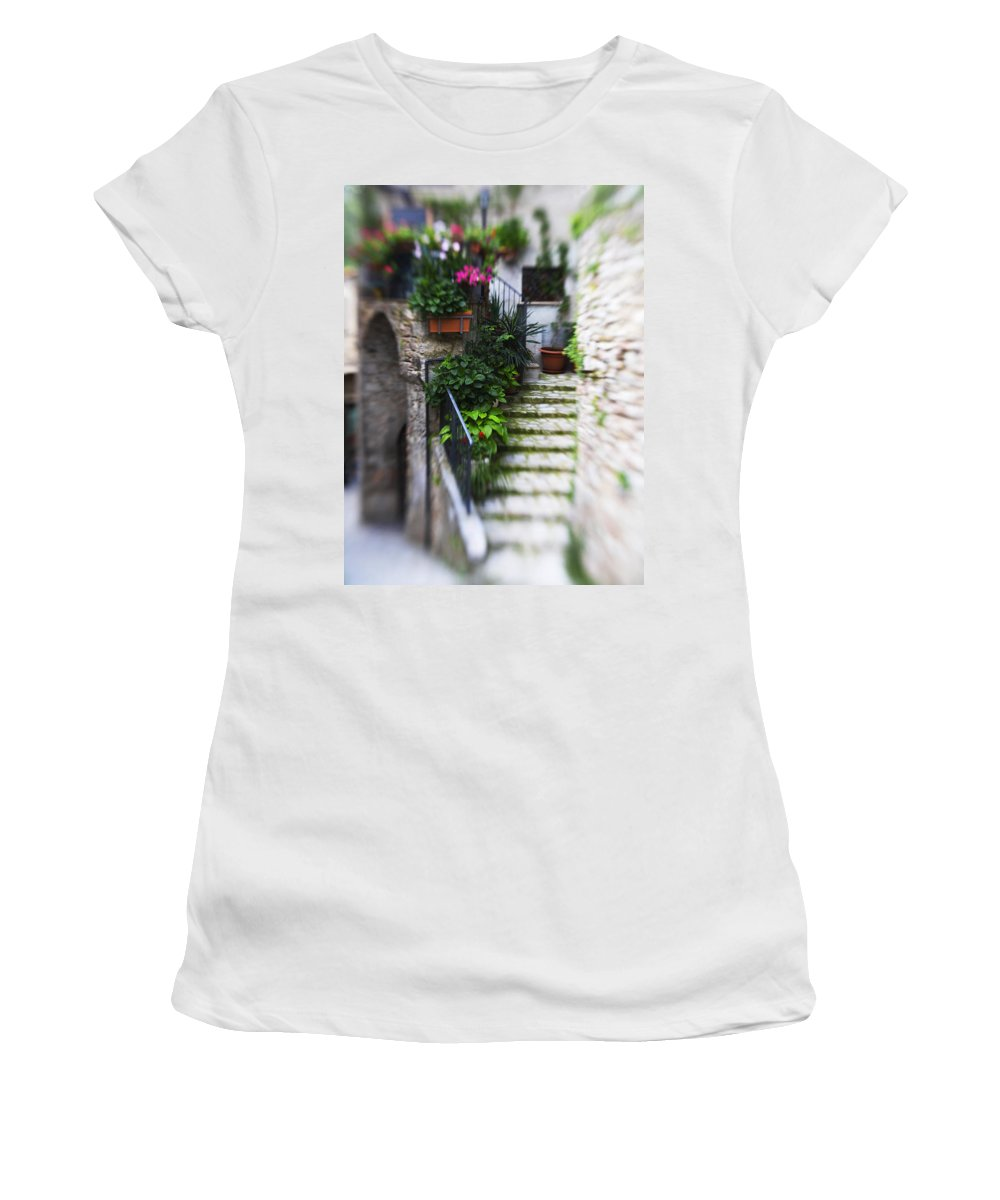 Italy Women's T-Shirt (Athletic Fit) featuring the photograph Archway And Stairs by Marilyn Hunt