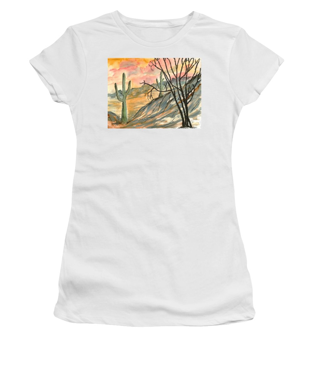 Drawing Women's T-Shirt (Athletic Fit) featuring the painting Arizona Evening Southwestern Landscape Painting Poster Print by Derek Mccrea