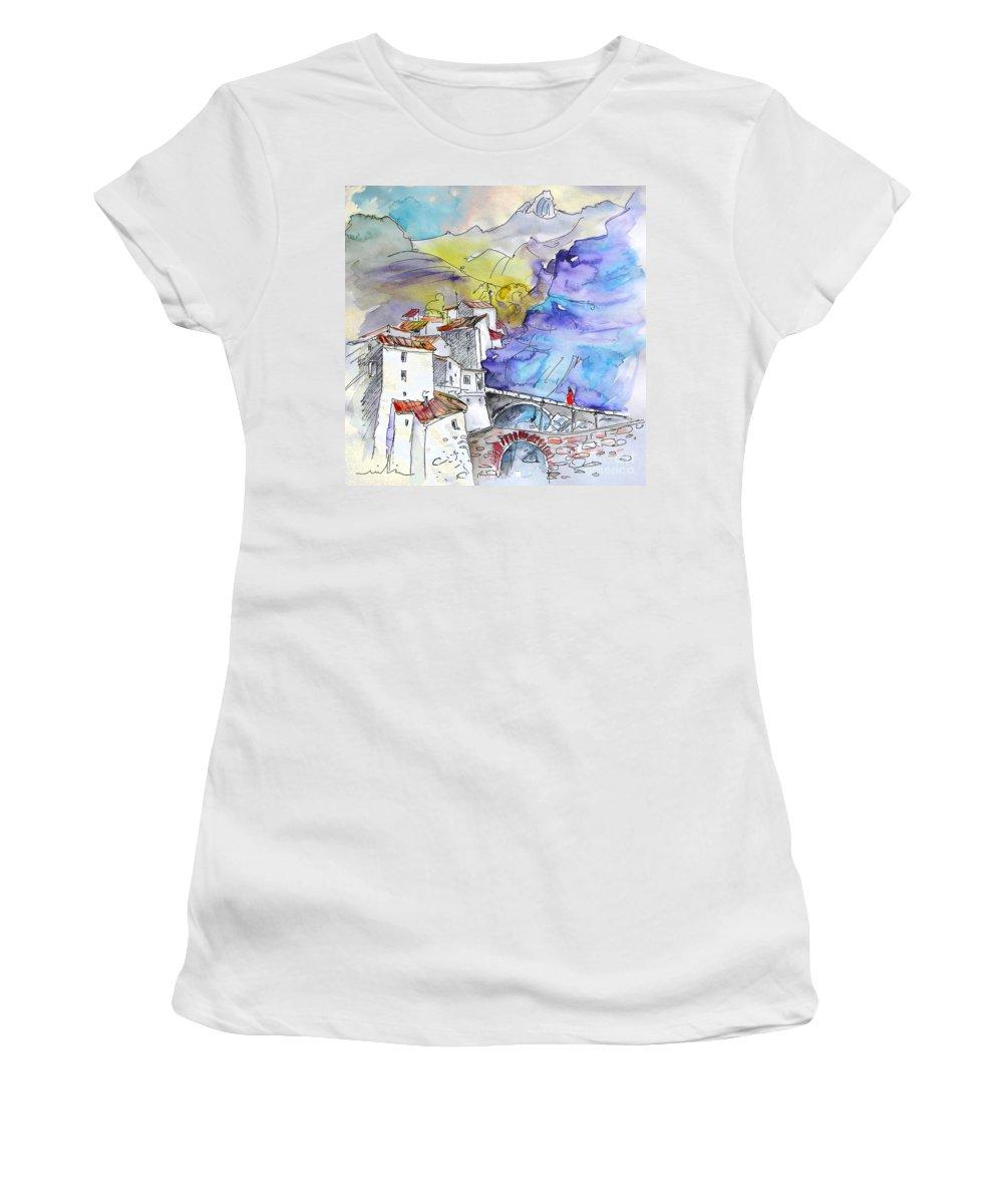 Arnedillo Women's T-Shirt (Athletic Fit) featuring the painting Arnedillo In La Rioja Spain 02 by Miki De Goodaboom