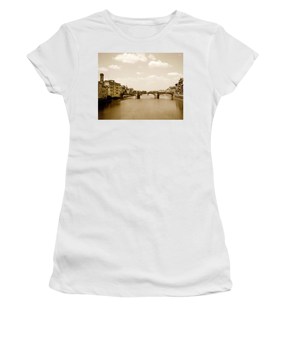 Italy Women's T-Shirt (Athletic Fit) featuring the photograph Arno River Florence by Marilyn Hunt