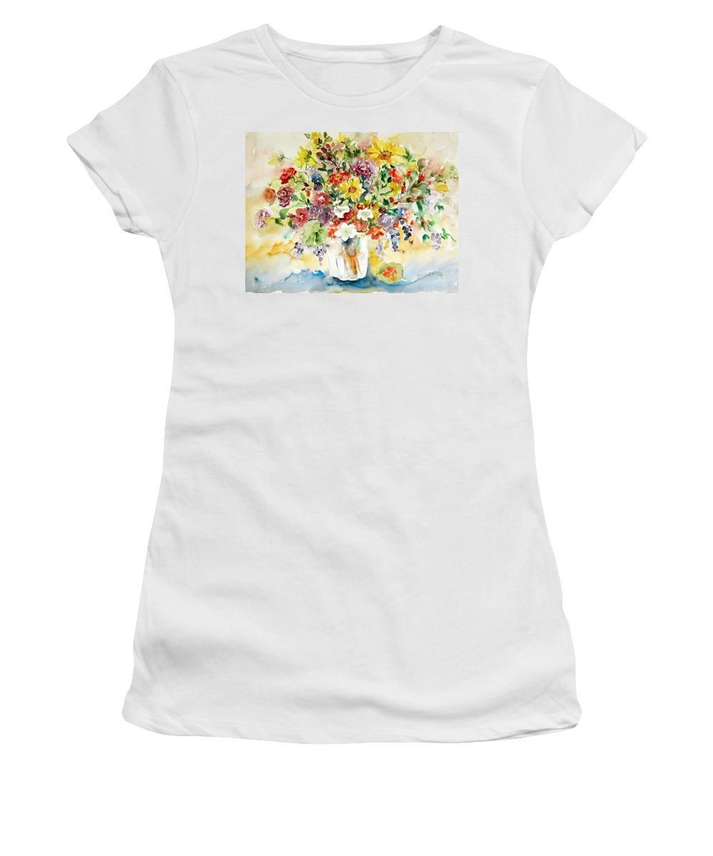 Watercolor Women's T-Shirt featuring the painting Arrangement III by Ingrid Dohm