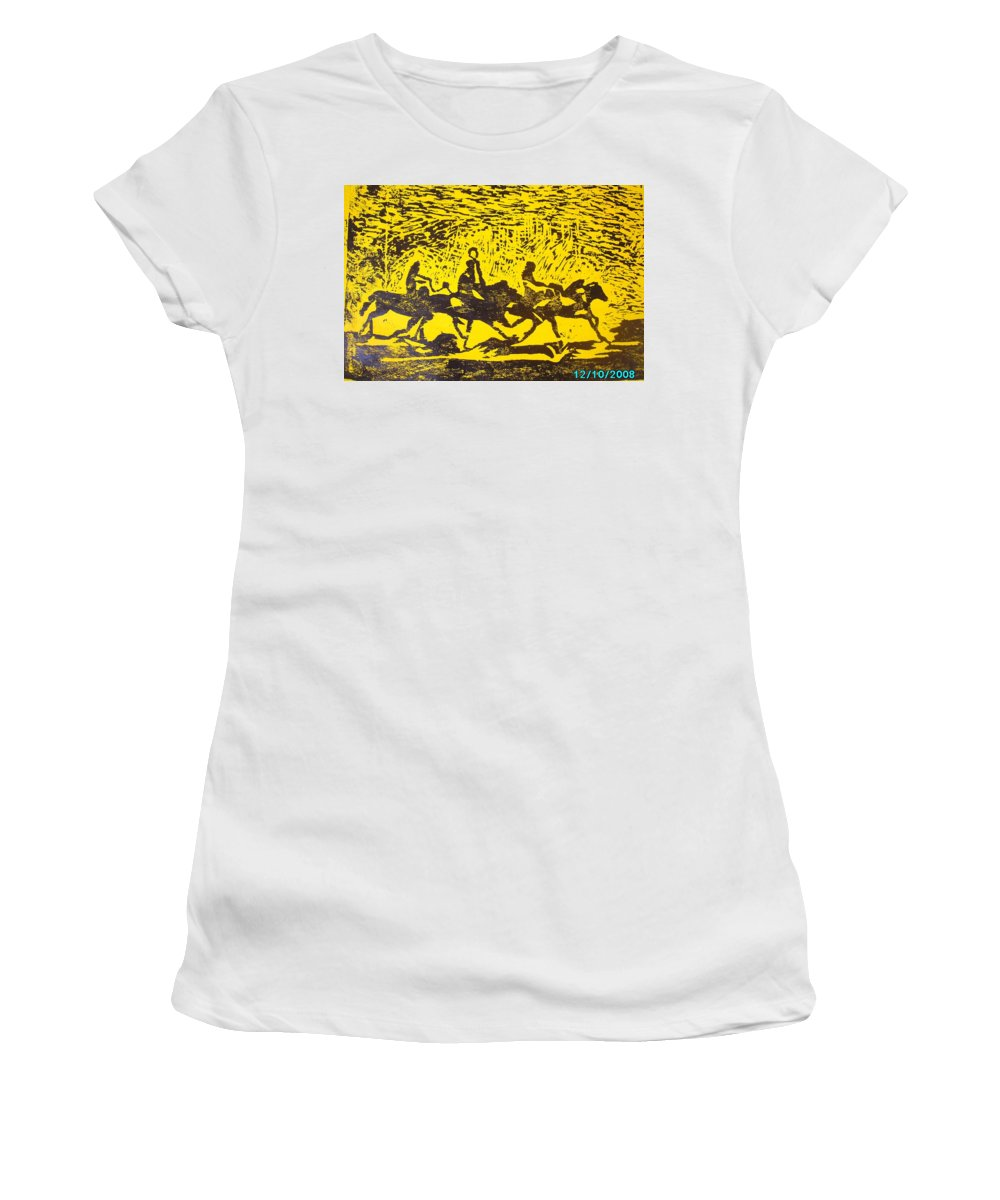 Arrival Women's T-Shirt (Athletic Fit) featuring the mixed media Arrival by Olaoluwa Smith