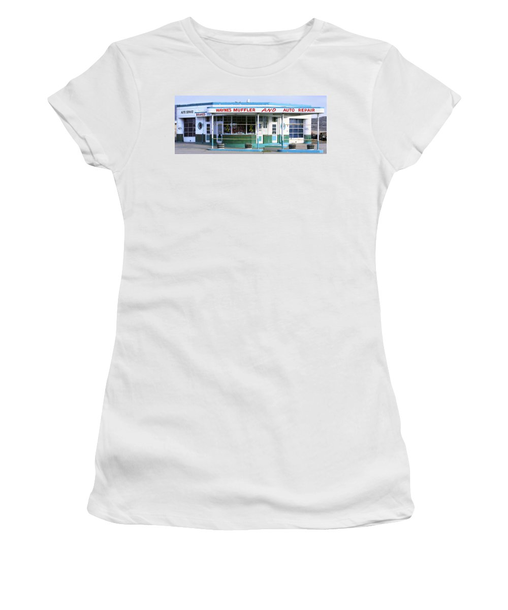 Americana Women's T-Shirt (Athletic Fit) featuring the photograph Art Deco Filling Station 1 by Marilyn Hunt