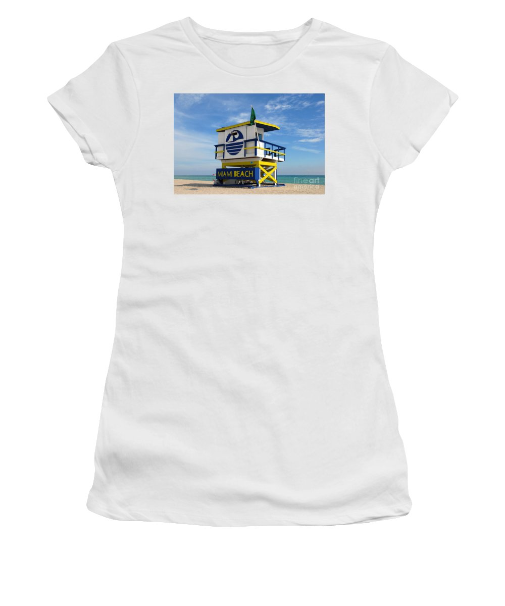 Miami Beach Women's T-Shirt (Athletic Fit) featuring the photograph Art Deco Lifeguard Stand by David Lee Thompson