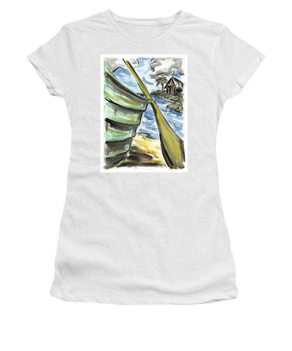 Seascape Women's T-Shirt (Athletic Fit) featuring the painting Ashore by Robert Joyner