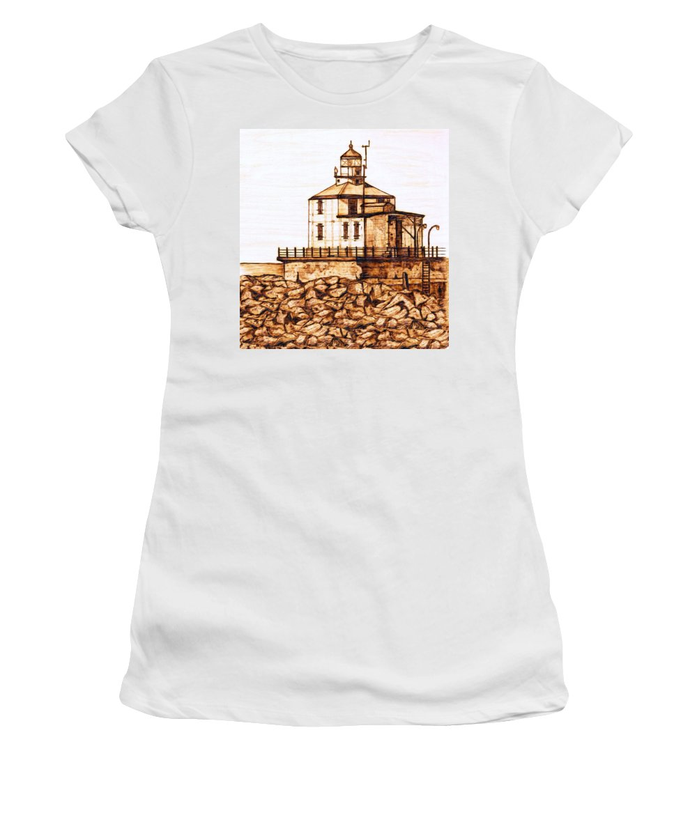 Lighthouse Women's T-Shirt (Athletic Fit) featuring the pyrography Ashtabula Harbor by Danette Smith