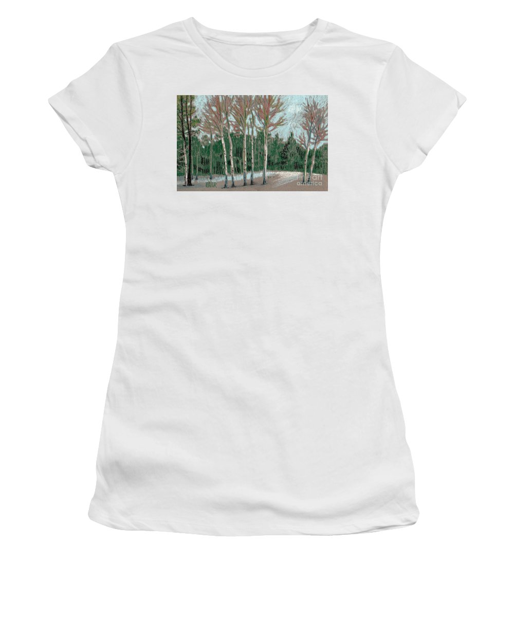 Aspens Women's T-Shirt (Athletic Fit) featuring the drawing Aspen In The Snow by Donald Maier