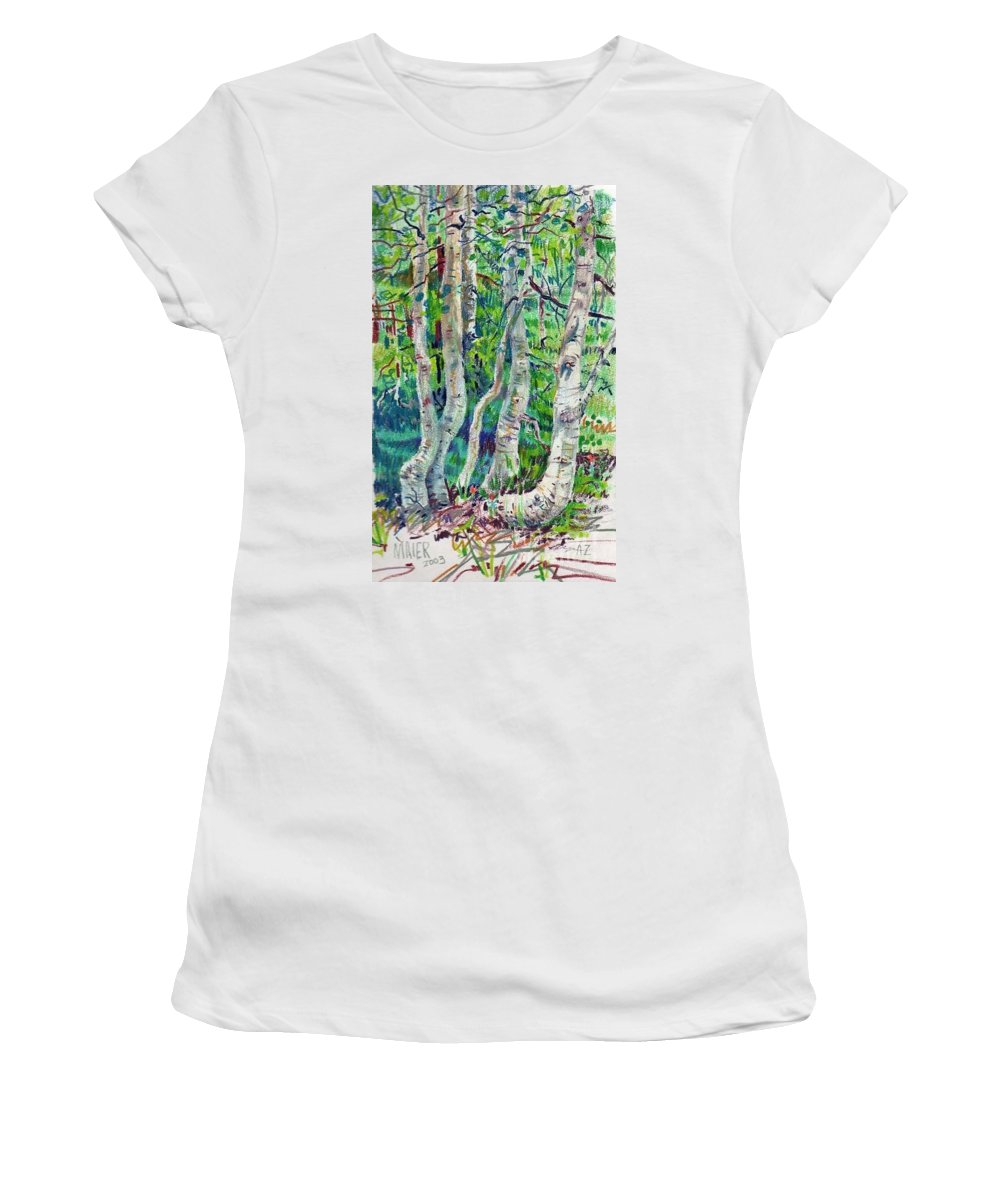 Aspens Women's T-Shirt (Athletic Fit) featuring the drawing Aspens by Donald Maier