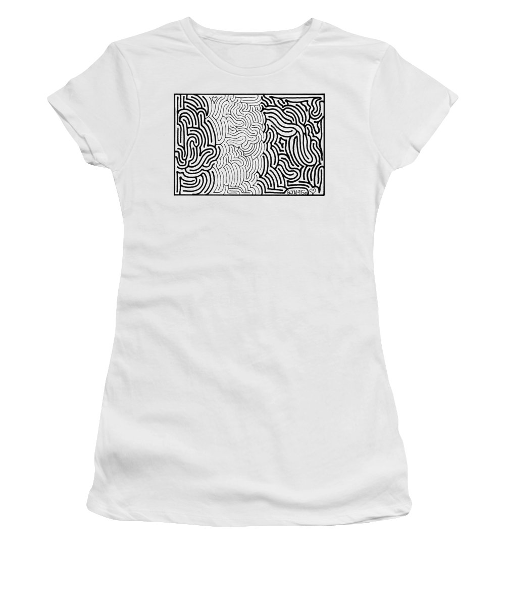 Mazes Women's T-Shirt (Athletic Fit) featuring the drawing Assimilation by Steven Natanson