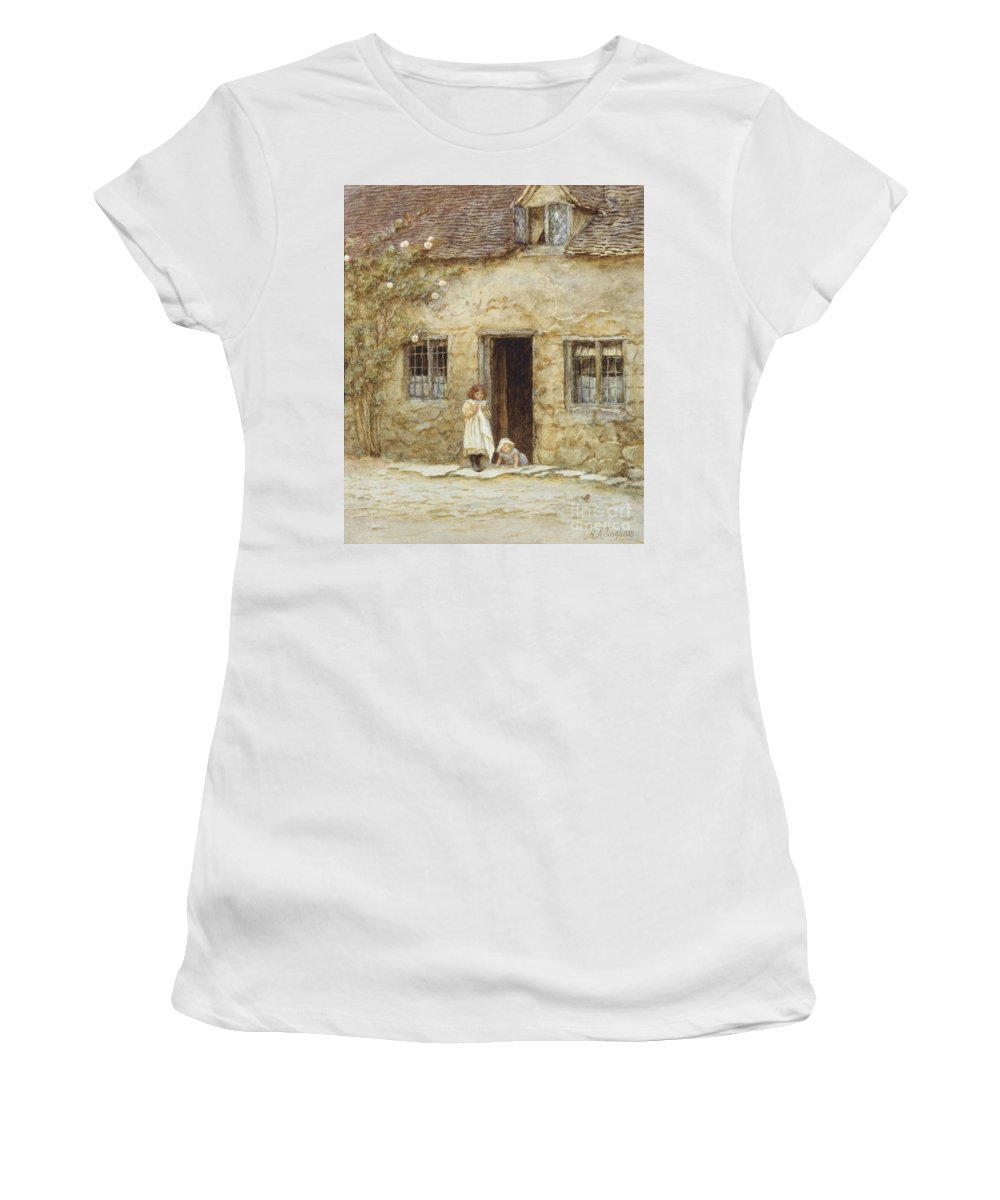 Exterior; Door; Child; Children; Girl; Victorian; C19th; C20th; Toddler; Climbing; Rose Women's T-Shirt (Athletic Fit) featuring the painting At The Cottage Door by Helen Allingham