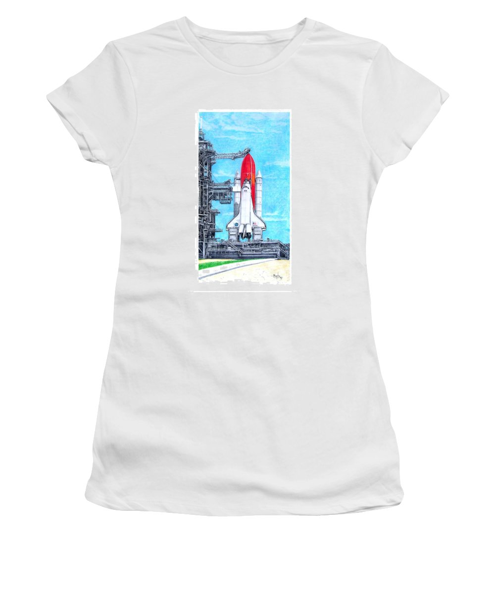 Drawing Women's T-Shirt (Athletic Fit) featuring the drawing Atlantis by Murphy Elliott